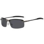Men Stylish Rectangular Gun Metal Frame Sunglasses Polarized Smoke Lens