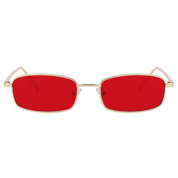 Steampunk Vintage Rectangular Gold Metal Frame Sunglasses Red Lens Shades