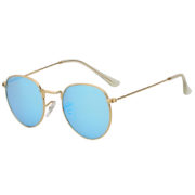 Stylish Small Oval Gold Metal Frame Sunglasses Blue Mirror Lens Shades