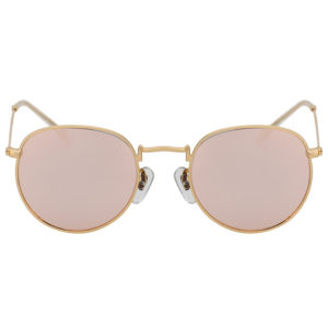 Vintage Small Oval Gold Metal Frame Sunglasses Rose Mirror Lens Shades