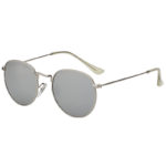 Fashion Oval Small Silver Metal Frame Sunglasses Mirrored Lens