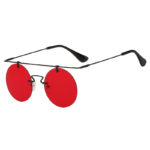 Vintage Round Brow Bar Sunglasses Black Metal Frame Red Lens