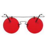 Vintage Round Brow Bar Sunglasses Black Metal Frame Red Lens