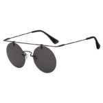 Vintage Round Brow Bar Smoke Lens Sunglasses Black Metal Frame