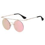 Vintage Round Brow Bar Full Mirror Lens Sunglasses Gold Metal Frame Pink Lens