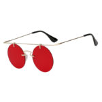 Stylish Round Brow Bar Sunglasses Gold Metal Frame Red Lens Shades