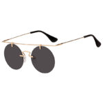 Vintage Round Brow Bar Sunglasses Gold Metal Frame Smoke Lens Shades