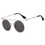 Fashion Round Brow Bar Smoke Lens Sunglasses Silver Metal Frame