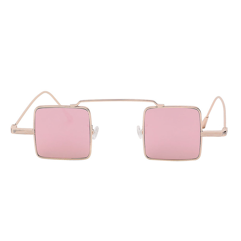 Stylish Vintage Square Small Gold Metal Frame Sunglasses Pink Lens Shades