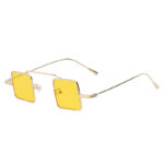 Retro Vintage Square Small Gold Metal Frame Sunglasses Yellow Lens Shades