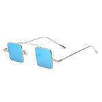 Vintage Square Small Silver Metal Frame Sunglasses Blue Lens Shades