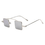 Men Women Vintage Square Small Silver Metal Frame Sunglasses Mirror Lens Shades