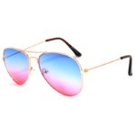 Classic Aviator Sunglasses Two Tone Shades Blue Pink Lens Gold Metal Frame