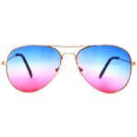 12 Pairs Classic Aviator Sunglasses Two Tone Blue Pink Lens Gold Metal Frame